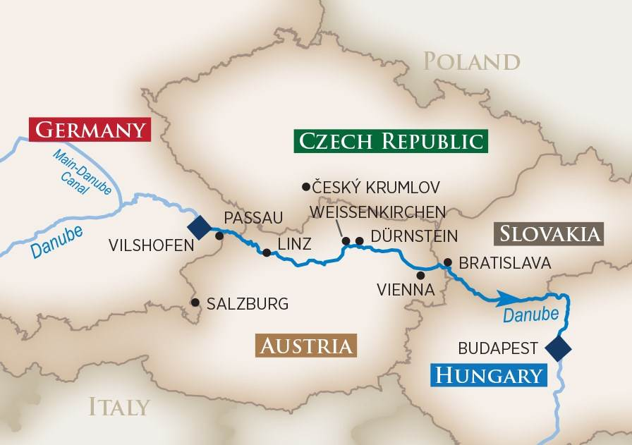 River Cruise Center AMA Waterways map of Danube River Cruise